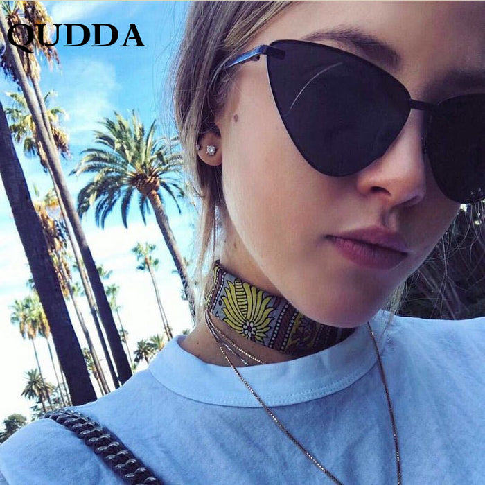 QUDDA Sexy Lady Cat Eye Sunglasses Women Men Fashion Vintage Wrap Metal Frame Clear Lenses Sun Glasses For Female UV400