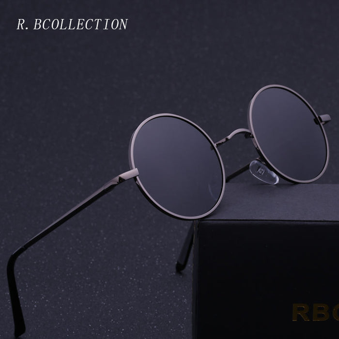 R.BCOLLECTION Steampunk Round Sunglasses Men Women Anti-UV Polarized Metal Frame Retro Sun Glasses Mirror gafas de sol 801