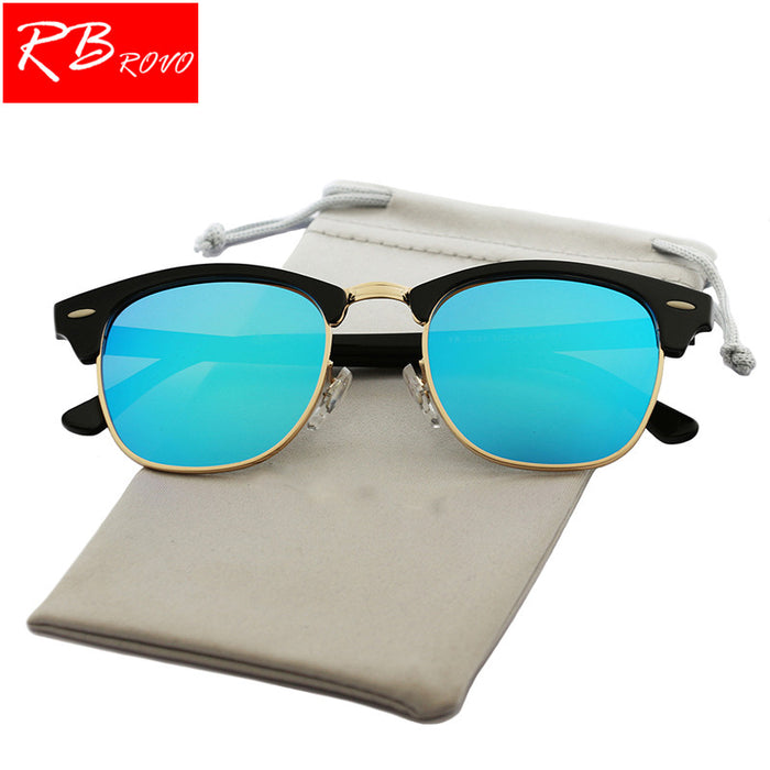 RBROVO Vintage Semi-Rimless Brand Designer Sunglasses Women/Men Polarized UV400 Classic Oculos De Sol Gafas Retro Sun Glasses