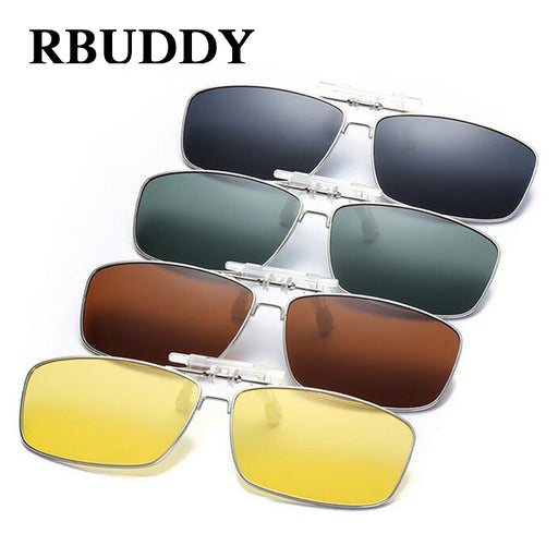 6a8bf8fae5 RBUDDY High Quality Polarized Clip On Sunglasses Men Mirror Driving Night  Vision Clip Sun Glasses Women