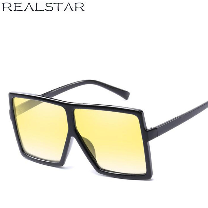 REALSTAR New Fashion Oversized Shades Sunglasses Men Women Brand Designer Sun Glasses Men Vintage Square UV400 Oculos S139