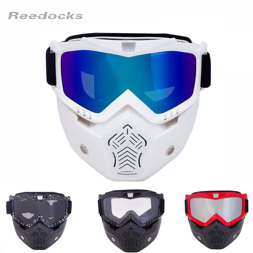 REEDOCKS New Modular Mask Detachable Goggles Mouth Filter Ski Glass Men Women Windproof Snow Snowboard Skiing Eyewear Fishing