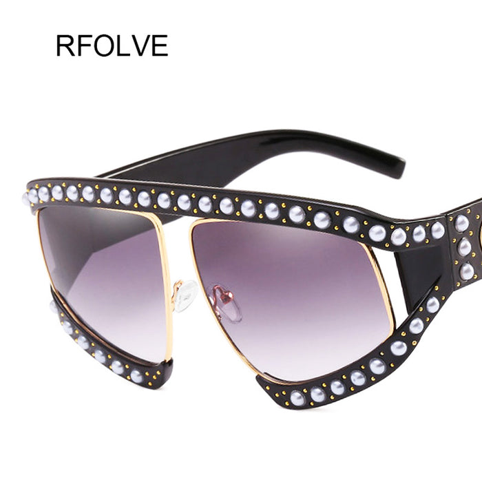 RFOLVE Luxury Brand Fashion With Pearl Red Black Gradient Sun Glasses Women Oversized Sunglasses Women UV400 Big Shades R8395