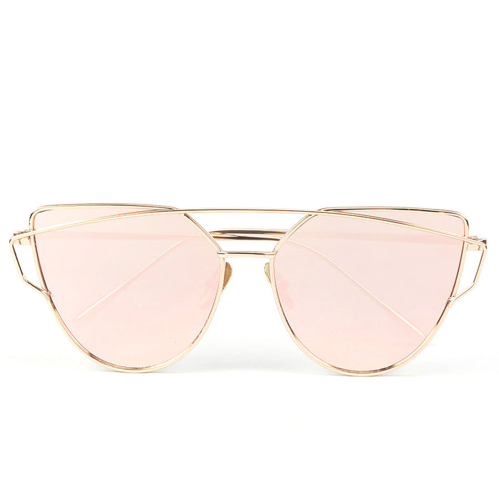 ROYAL GIRL NEW Brand Design Cat Eye Sunglasses Women Metal Frame Flat Double Bridge Sun glasses Vintage Mirror Shades ss495