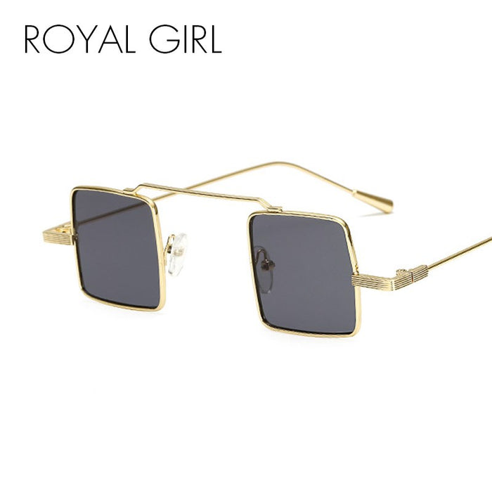 ROYAL GIRL Steampunk Small Square Sunglasses Women Men Retro Flat Top Metal Frame Red Black Yellow Sun Glasses Shades ss688