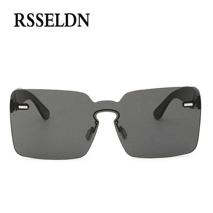 RSSELDN Cool Cheap Sunglasses In One Piece For Party Orange Pink Rimless Sun glasses For Men And Women Plastic UV400