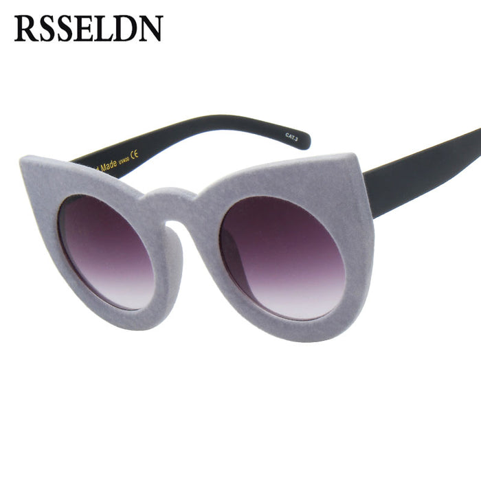 RSSELDN Cat Eye Sunglasses Women Fashion Plush personality Border Velvet Frame Vintage Sun glasses For Ladies UV400 Eyewear