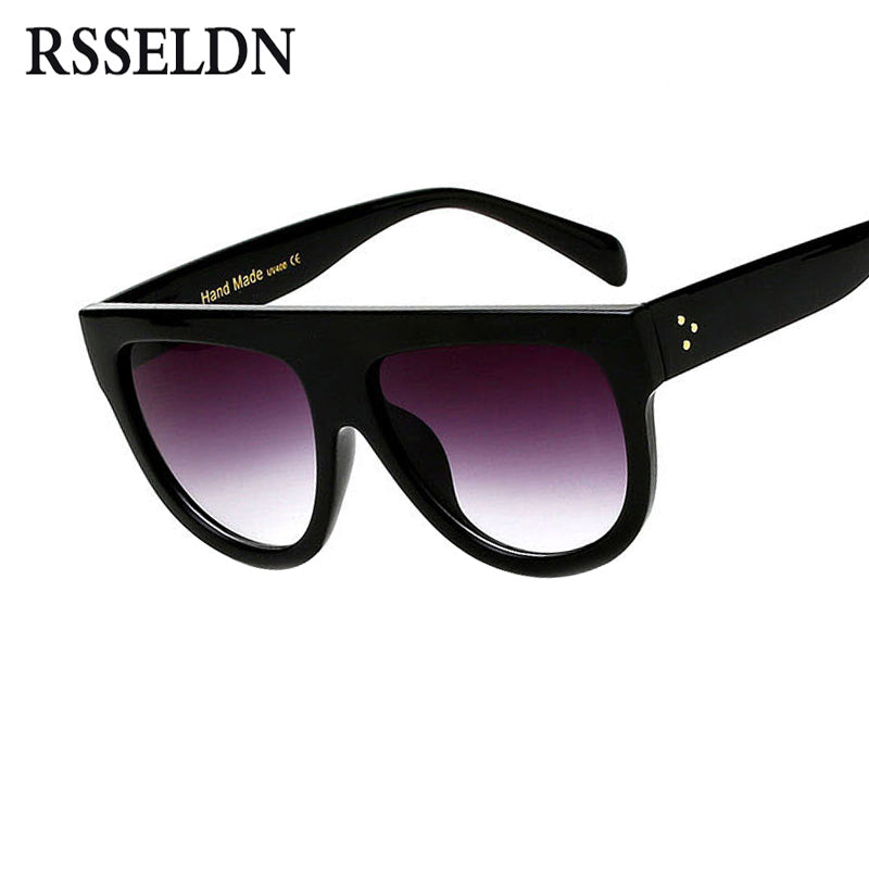 RSSELDN Flat Top Oversized Square Sunglasses Women Gradient Summer Style Classic Women Sun glasses Big Square Eyewear UV400