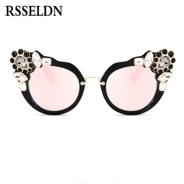 RSSELDN New Artificial Crystal Embellishment Cat Eye Sunglasses Women Luxury Fashion Summer Sun Glasses For Women Cat Eye Sexy