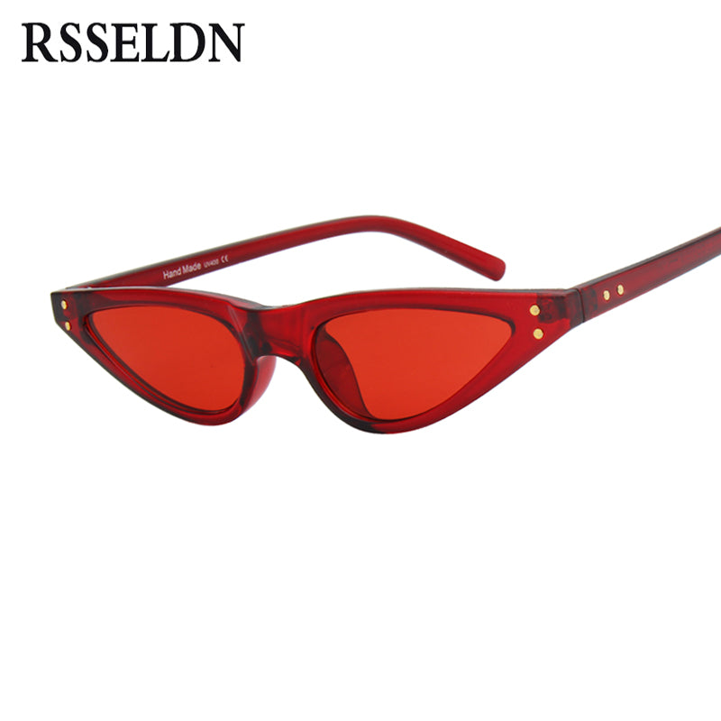 RSSELDN Sexy Retro Small Sunglasses Women Cat Eye Vintage Black Red Fashion Cat Eye Sun Glasses Female Brand Designer Shades