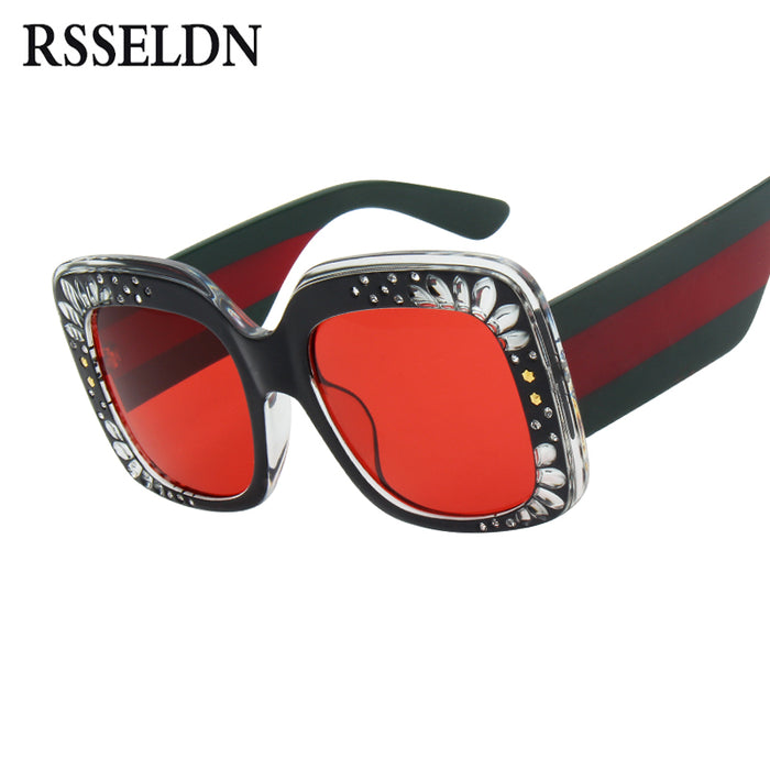 RSSELDN Square Rhinestone Sunglasses Women Fashion Red Pink Brown Oversized Sun glasses For Women Gradient Big Shades UV400