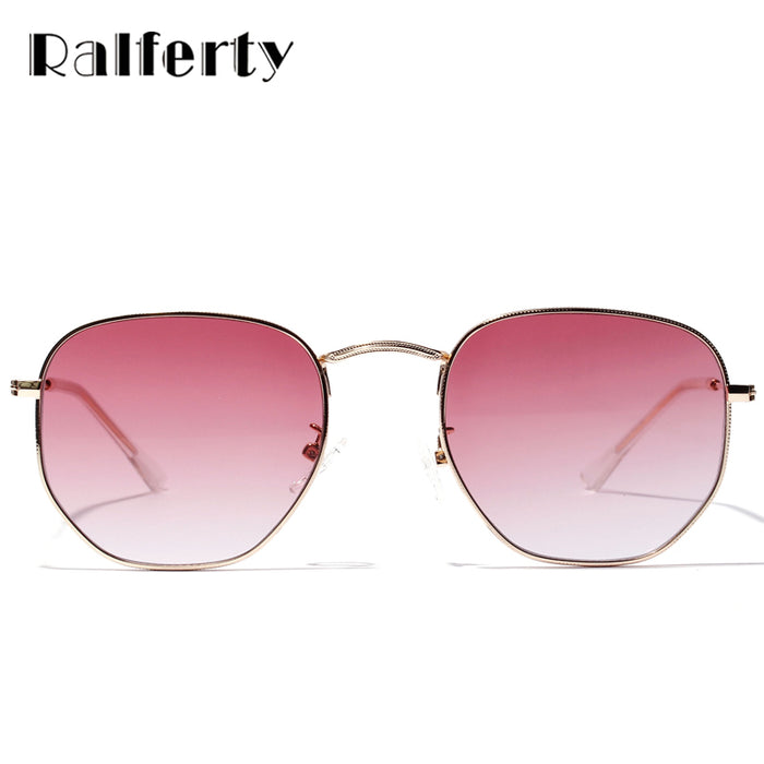 Ralferty Chic Ladies Square Round Sunglasses Women Gradient Sun Glasses For Woman Gold Metal Frame Eyewear Female Shades X1314
