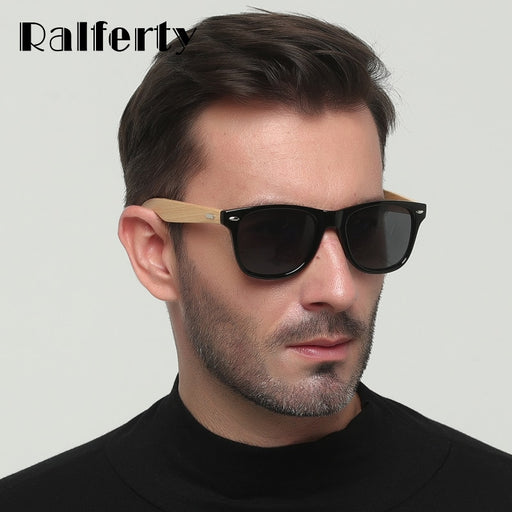 fc3e6e84502c Ralferty Real Bamboo Sunglasses Men Polarized Women Black Sunglass Male  UV400 Sun Glasses Driver Goggles Wooden