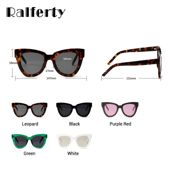 Ralferty Stylish Cat Eye Sunglasses Women Vintage Cateye Sun Glasses Female White Plastic Frames Sunglass Shades Oculos X1310