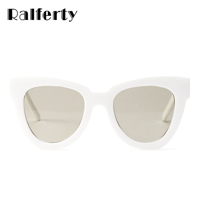 70d39c151980 Ralferty Stylish Cat Eye Sunglasses Women Vintage Cateye Sun Glasses Female  White Plastic Frames Sunglass Shades