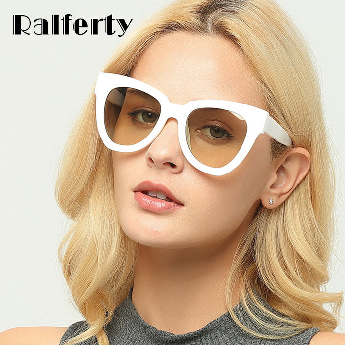 b5221f09dd Ralferty Stylish Cat Eye Sunglasses Women Vintage Cateye Sun Glasses Female  White Plastic Frames Sunglass Shades