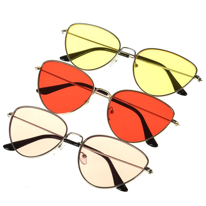 Retro Cat Eye Sunglasses Women Yellow Red Lens Sun glasses Fashion Light Weight Sunglass for women Vintage Metal Eyewear