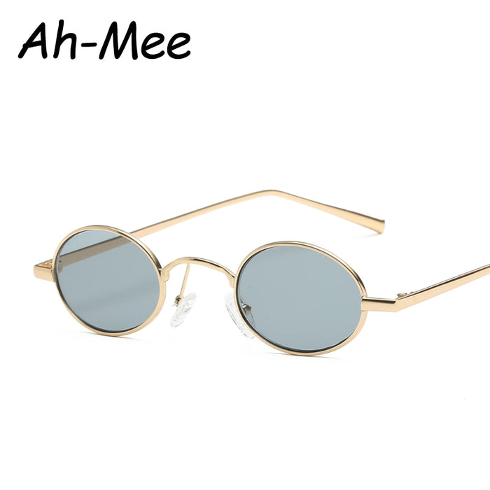 Retro Small Oval Sunglasses For Women Unisex Metal Frame Vintage Brand Designer Color Lenses Sun Glasses UV400
