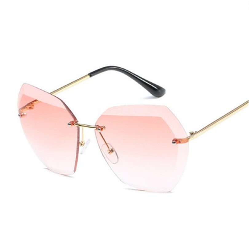 734a35aad0 Rimless Diamond Cutting Lens Sunglasses Men Women Brand Designer Oversize Female  Male Glasses Shades Sun Glasses