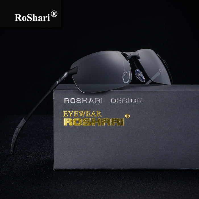 RoShari Chameleon Sunglasses men photochromic All-weather Discoloration Professional driving Sun glasses men lunette de soleil