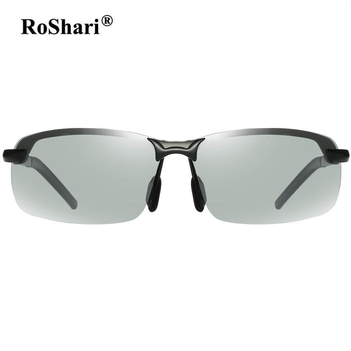 RoShari Driving Photochromic Sunglasses Men Polarized Chameleon Discoloration Sun glasses for men eyeglasses gafas de sol hombre
