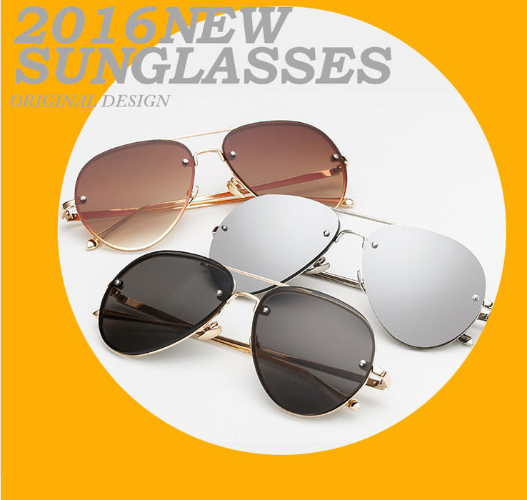 Rose Gold Classic Aviation Women Sunglasses Mirror Summer Style Fashion Glasses Vintage Sexy Lady Sun Glasses Hot Sale Rimless