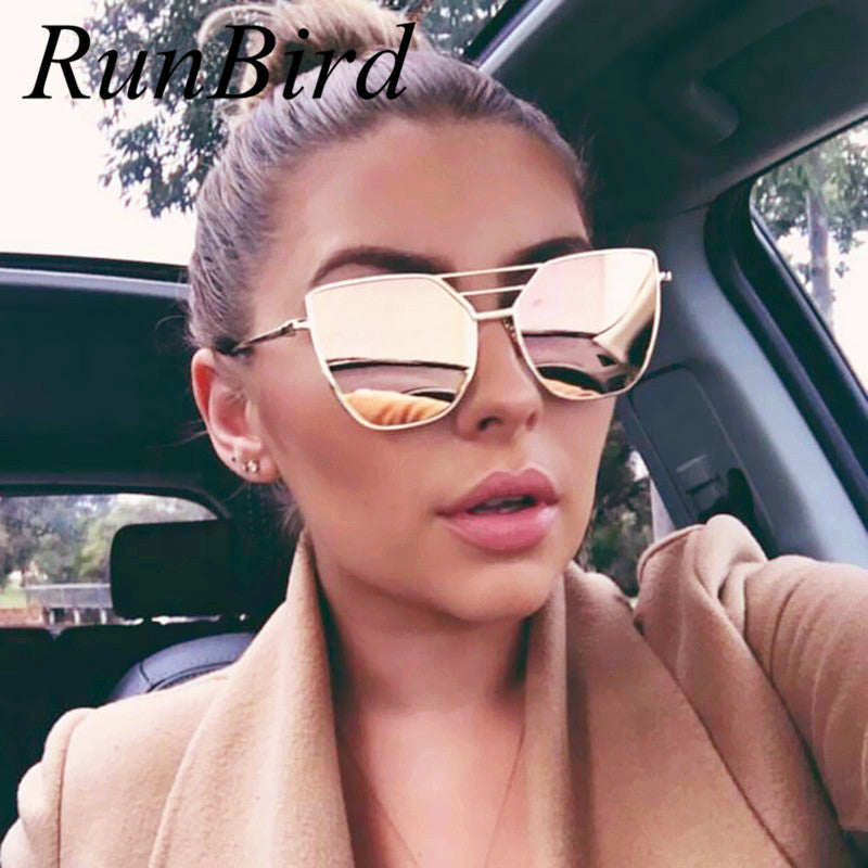 RunBird New Flat Top Rose Gold Men Women Mirror Sunglasses Fashion Brand Designer Cool Sun Glasses wholesale Female 610R