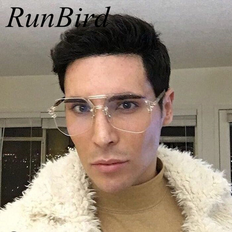 RunBird Square Hip Hop Fashion Brand Designer Sunglasses Men Women Transparent Sun Glasses Lady Oversized Size Eyeglasses 379R