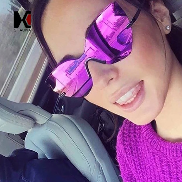 SHAUNA Fashion Purple Reflective Women Rimless Sunglasses Oversized Ladies Cateye Mirror Lens Sun Glasses UV400