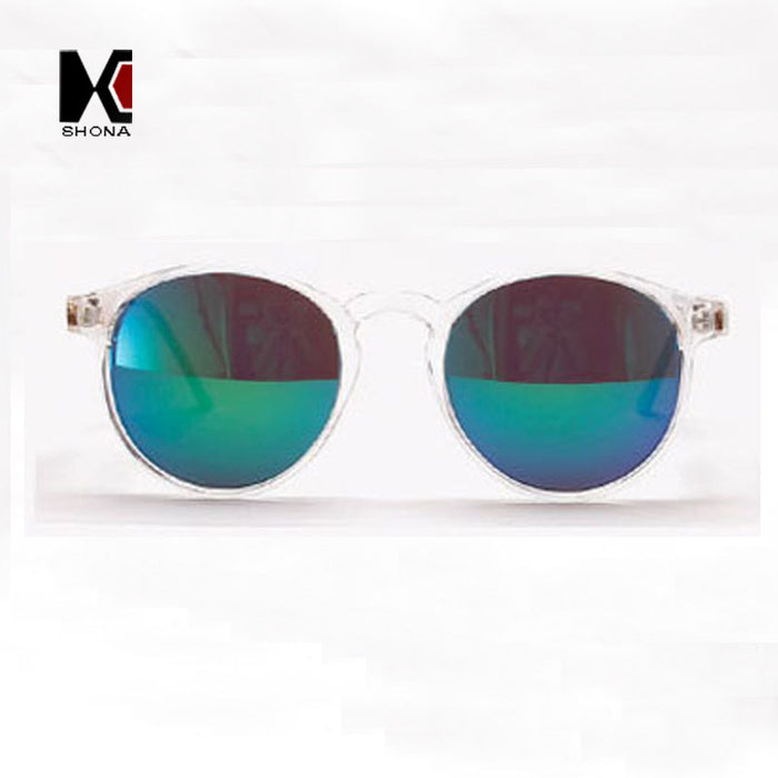 SHAUNA Round Sunglasses Brand Designer Women Keyhole Sun Glasses Transparent Frame Men Eyewear Mirror Lens Coating Gafas UV400