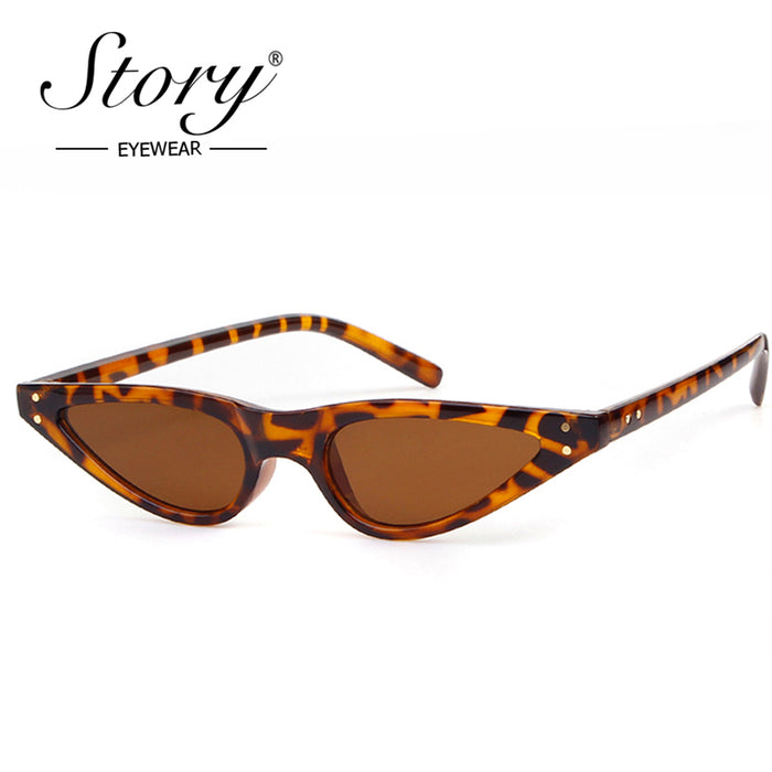 STORY Brand Sexy Retro Cat Eye Sunglasses Women Small Black White Triangle Vintage Sun Glasses Red Female uv400 Shades