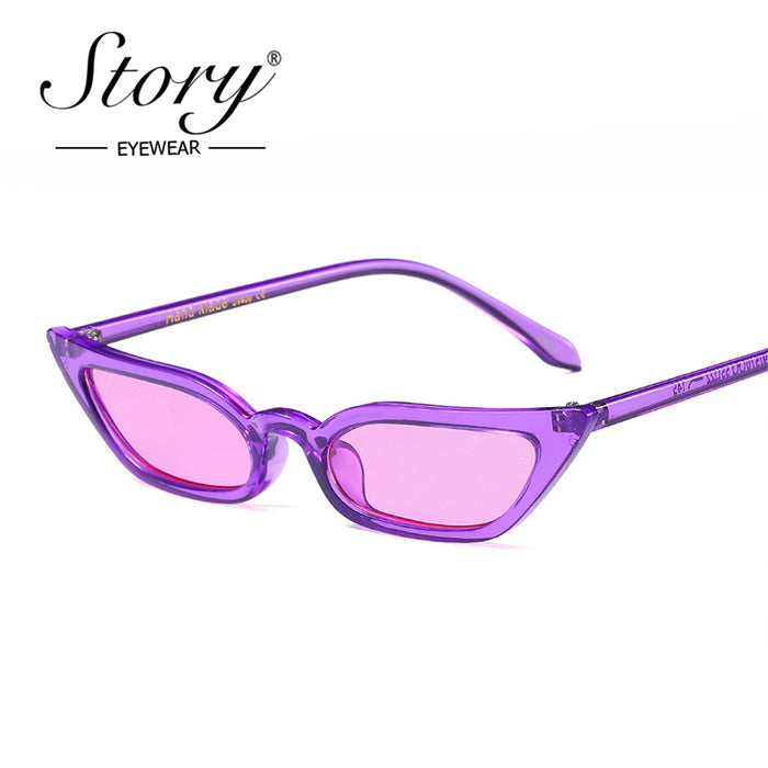 STORY Brand Vintage Rectangle Women Sunglasses Cat Eye Fashion Skinny Frame Retro Sun Glasses for Female Unique Shades