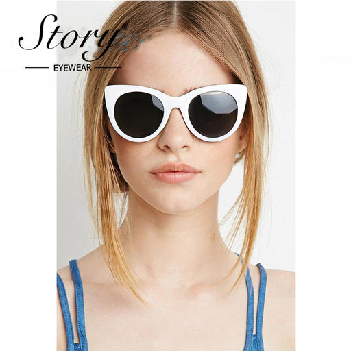 1504353a8fee3 STORY Mirror Sunglasses Women Brand Designer White Frame Red Cat Eye  Sunglasses Cateye Sun Glasses Female