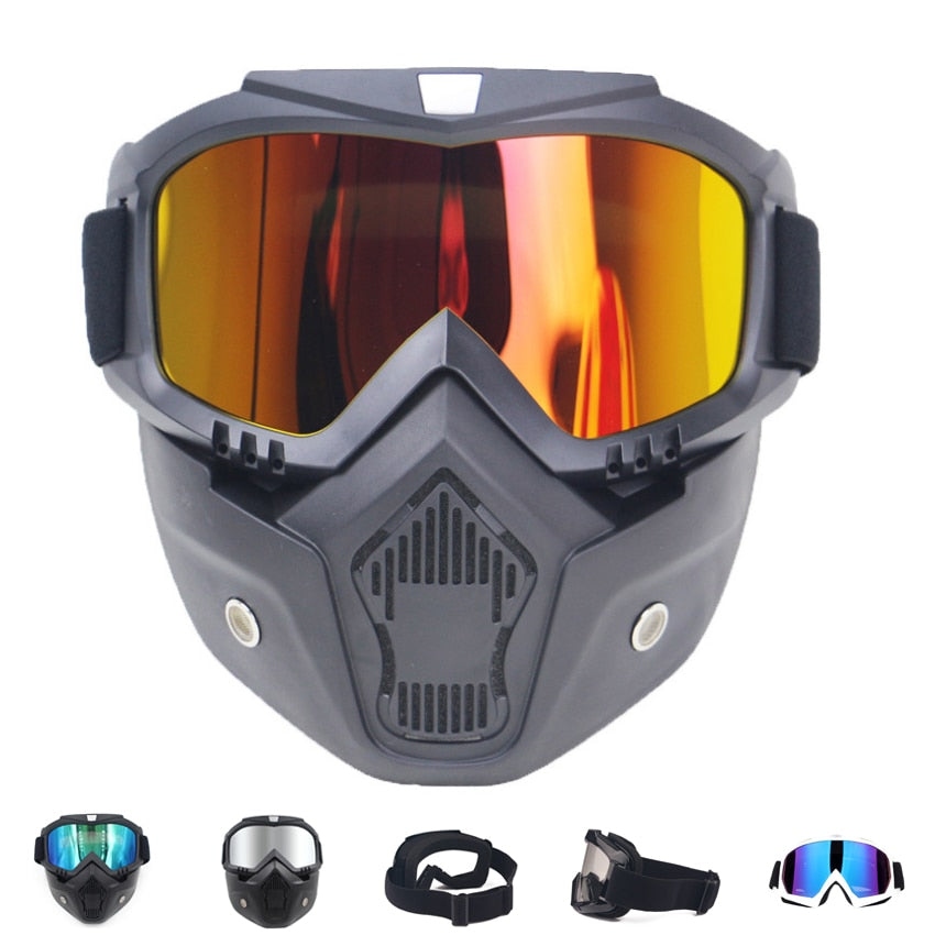 Sale Men Women Ski Snowboard Mask Winter Snowmobile Skiing Goggles Windproof Skiing Glass Motocross Sunglasses with Mouth Filter