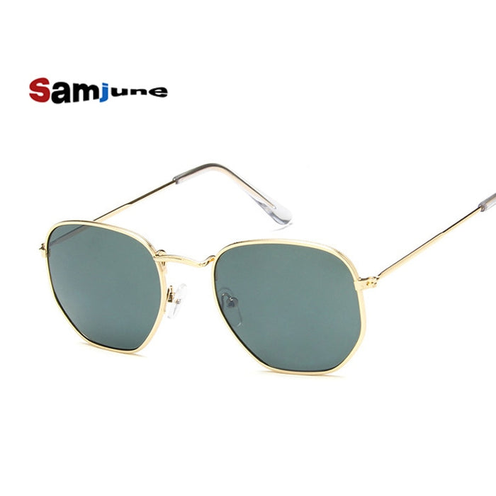 Samjune Men Hexagonal Flat Lenses Aviation Sunglasses Brand Designer New Vintage Women Pink Mirror Driving Sun Glasses