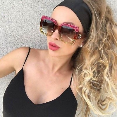 Square Sunglasses oversized shades luxury brand design women's sunglasses ombre optyl red green sun glasses female oculos