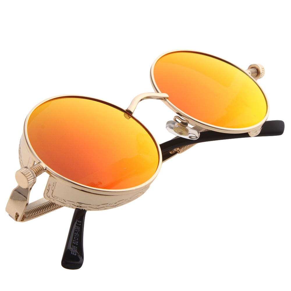 Steampunk Round Sunglasses Women Steam Punk Circle Men Female Brand Metal Mirror Lenses Sun Glasses For Women Male Oculos De Sol