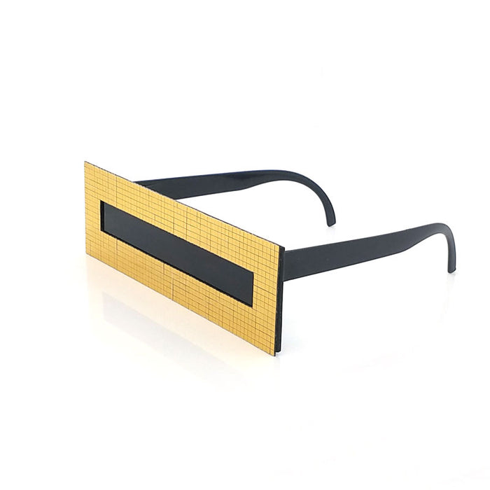 Sun Glasses Deal With It Points One Piece Rectangle Sunglasses Gold Checker Bar
