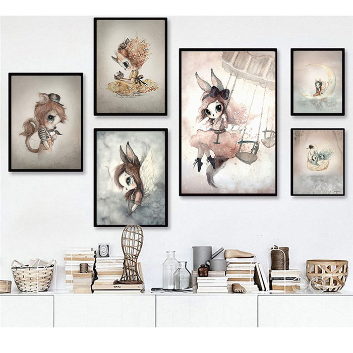 Sweet Home Decor Nordic Canvas Painting Wall Art Poster Rabbit Girls Boys Picture Cartoon Watercolor Decor Print for Kid Bedroom|Painting & Calligraphy