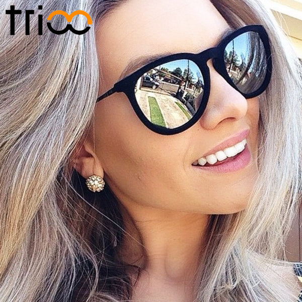 TRIOO Women Sunglasses Polarized Mirror Brand Designer Mirror Oculos UV400 Fashion Sun Glasses For Women Black Simple Shades