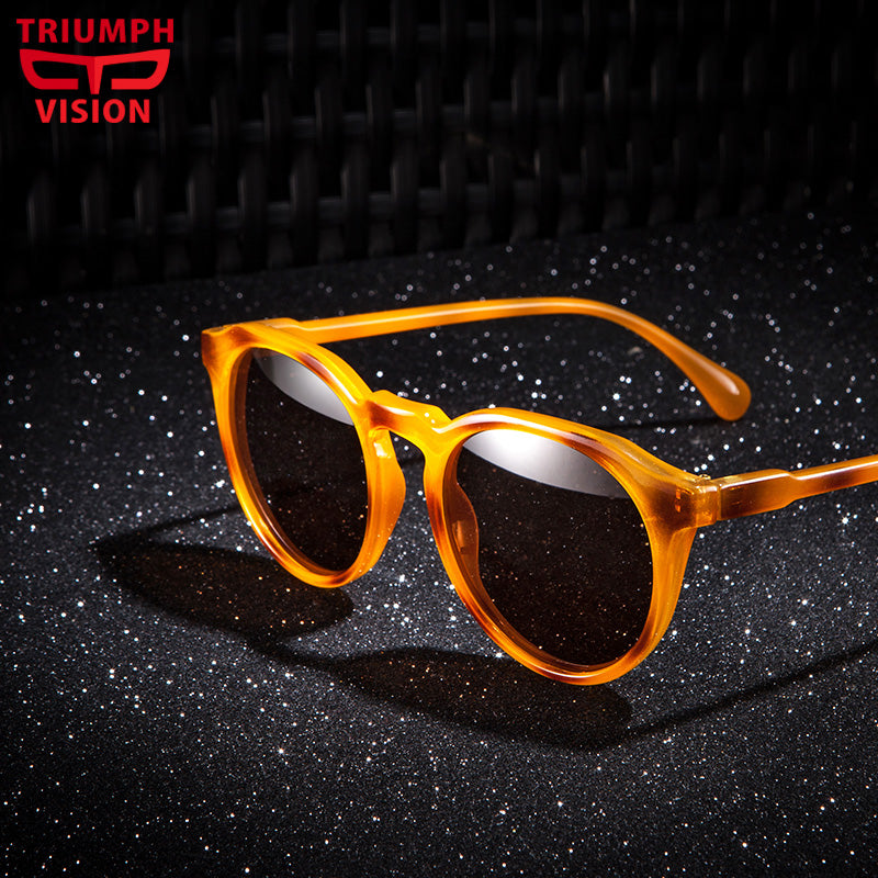 TRIUMPH VISION Polarizd Retro Round Sunglasses Men Women Unisex Vintage Tortoise Design Small Sun Glasses for men Driving Shades