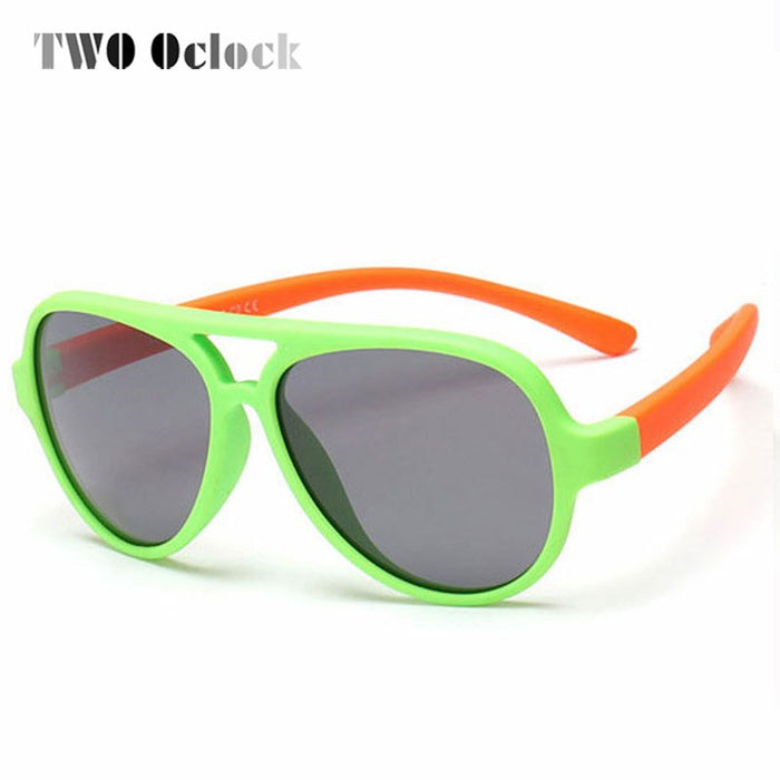 TWO Oclock Polarized Kids Sunglasses Oval TAC TR90 Pilot Soft Frame Baby Boys Girl Sun Glasses UV400 Child Outdoor Goggles 893