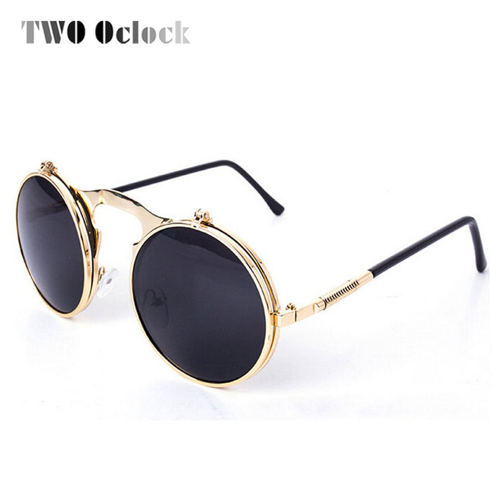 7ae903c9c7ee1 TWO Oclock Vintage Steampunk Goggles Round Sun Glasses For Women Men Retro  Double Flip Punk Sunglasses