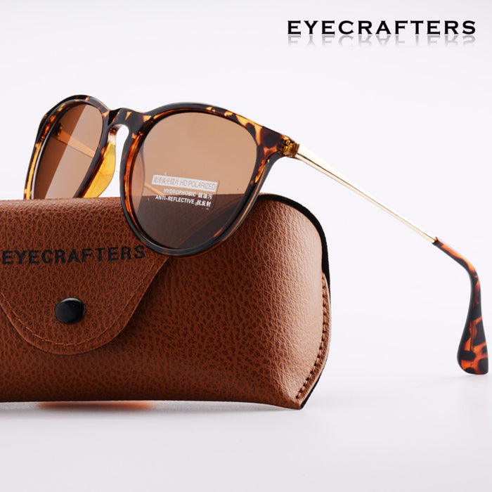 Tortoise Brown Brand Designer Polarized Sunglasses Womens Retro Vintage Cat Eye Sunglasses Female Fashion Mirrored Eyewear 4171