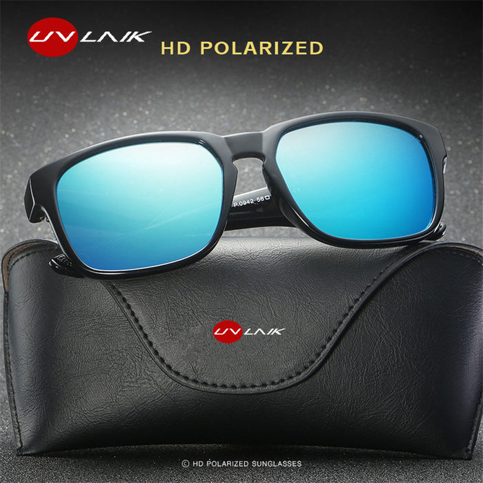 UVLAIK Polarized Lens Sunglasses Men Vintage Driving Sport Sun glasses Driving Safety Protect Eyeglasses HD Goggles