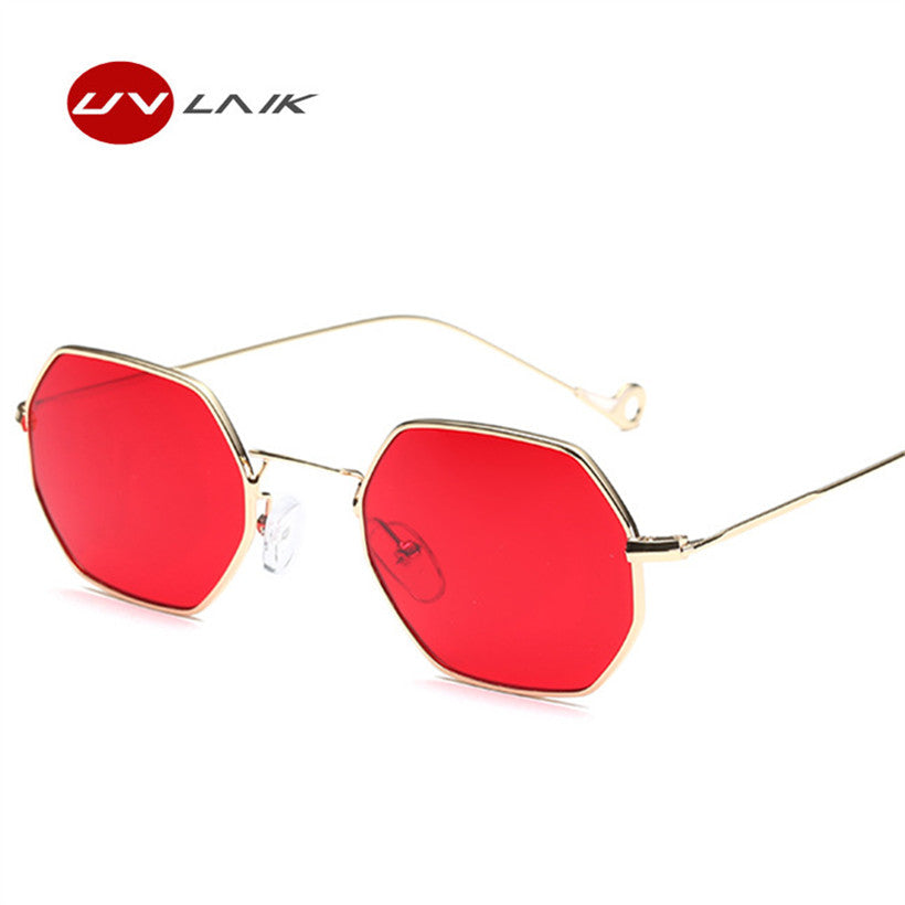 4a167451b0 UVLAIK Red Sunglasses Women Men Steampunk Style Vintage Sun Glasses Female  Metal Frame Clear Lens Sunglass