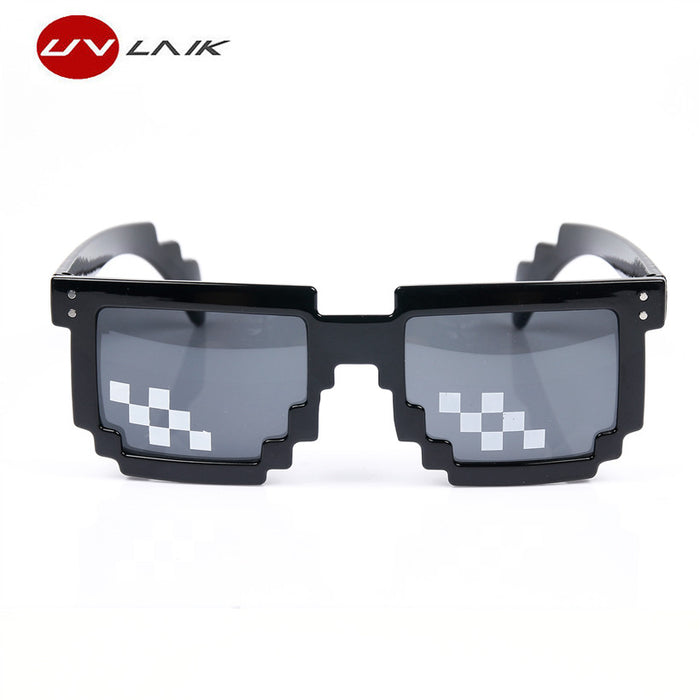 UVLAIK Thug Life Mosaic Pixel Glasses Around the World 8 bits Deal With It Sunglasses Men Women Party Sun glasses