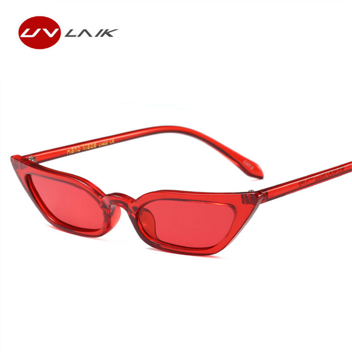 UVLAIK Vintage Cat Eye Small Frame Sunglasses Women Brand Designer New Female Sun Glasses Cateye Cool Sunglass Eyewears