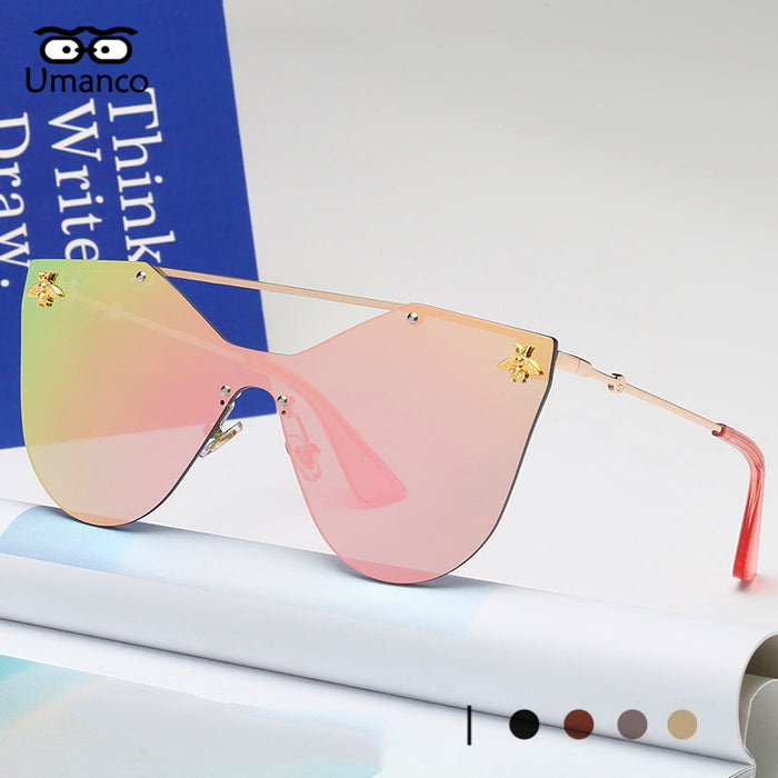 Umanco New Fashion Rimless Sunglasses Women Men Vintage Gold Small Bee Sun Glasses Female Colorful Shades Male Goggles Gift