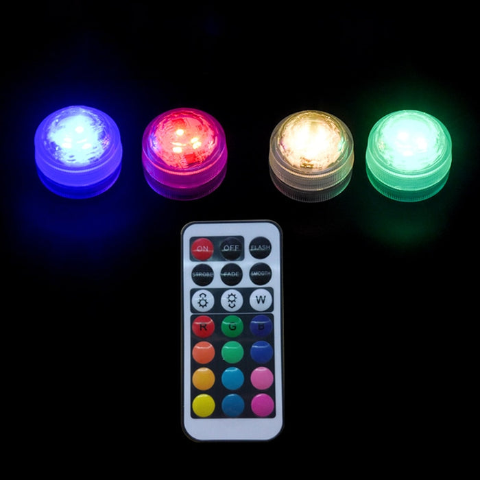 Underwater LED Light In/outdoor IP68 Waterproof Candle Lights 3cm Mini Pool Vase Lamp with Remote Control RGB Submersible lamps|LED Underwater Lights